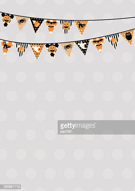 Retro Halloween themed bunting design with copy space