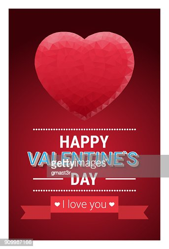Retro Happy Valentines Day Greeting Card Or Poster Decorated With