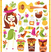 A vector illustration of 1960s retro inspired cute hawaiian luau party design elements set. Included in this set:- hawaiian girl, cocktails, coconut, pineapple, ukelele, tropical birds, tiki statues a