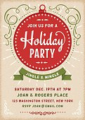 Retro styled holiday party invitation with ornaments and copy space. Illustrator file with live text paths is included and only free fonts are used.