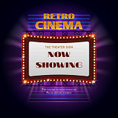 Retro hollywood cinema 3d glowing light sign. Movie light display billboard vector illustration. Retro cinema billboard event