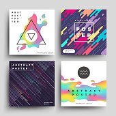Retro holographic and motion geometric, cosmic energy abstract vector backgrounds set. Color splash on poster, illustration of banner colored liquid stain design