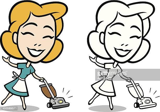 Retro Housewife With Vacuum