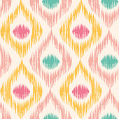 Vintage vector seamless pattern in ikat style. Retro ikat pattern.