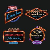 Retro illuminated marquee set in vector
