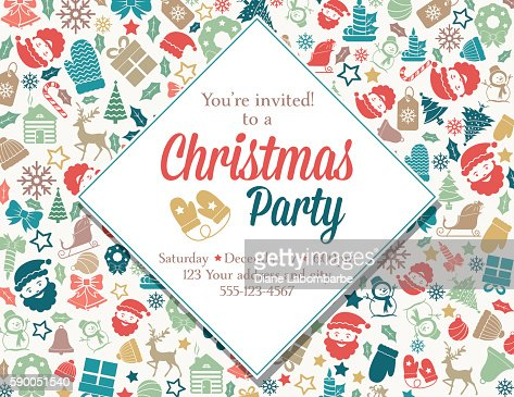 Christmas Party Invitation Template Vector Art  Getty Images