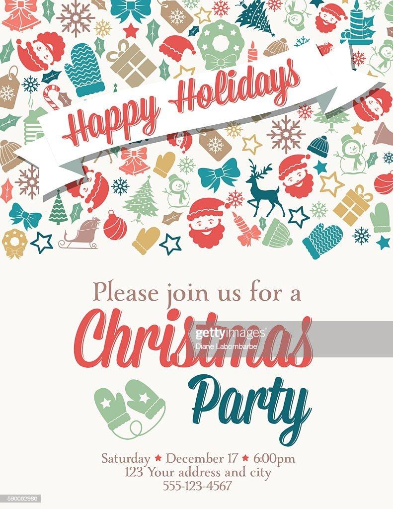 Retro Printable Christmas Party Invitation business christmas wishes