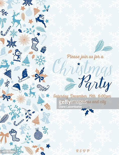 Retro Inspired Pastel Christmas Party Invitation Template