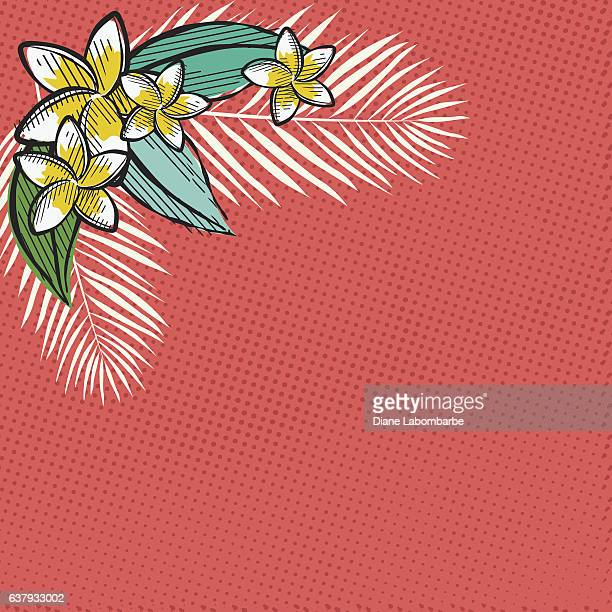 Retro Inspired Tropical Luau Flowers And Leaves