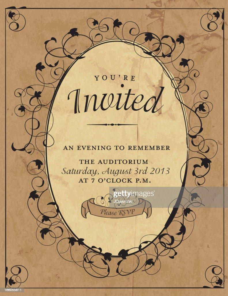 Retro invitation design template with oval swirl vector art retro invitation design template with oval swirl vector art stopboris Choice Image