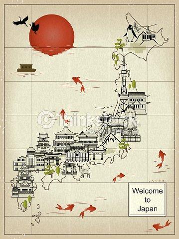 Retro Japan Travel Map Vector Art Thinkstock - Japan map vector art