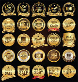 Retro labels and badges golden vector collection
