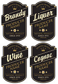 Vector set of four labels for various alcoholic beverages in the figured frame with crown and inscription on black background in retro styl