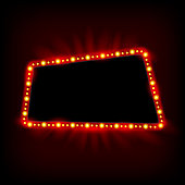 Retro light banner. Vector glowing theater cinema Sign. Retro red shining light billboard