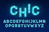 Broadway style retro light bulb font