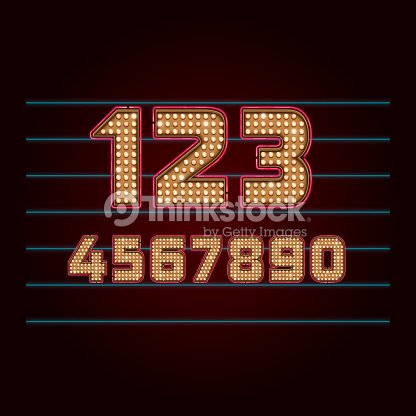 Retro Light Bulb Font Vector Numbers From 0 To 9 Art