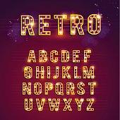 Retro Lightbulb Alphabet, lights, casino, retro, alphabet