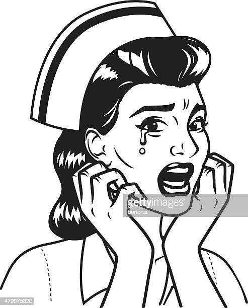 Line Drawing Nurse : Distraught stock illustrations and cartoons getty images