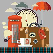 retro style London vector flat style background