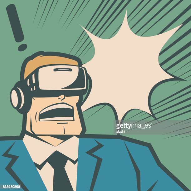 Retro macho businessman (man) wearing Virtual reality glasses (VR interface), surprised with screaming and shouting