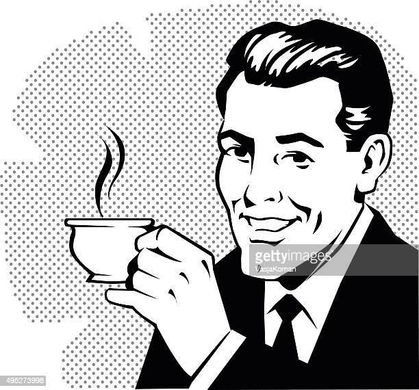 Retro Mann, trinkt Kaffee
