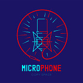 Retro Microphone logo icon outline stroke with radius in circle frame from cable dash line design illustration isolated on dark blue background with Microphone text and copy space, vector eps 10