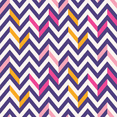 Retro Mod Vector Seamless Irregular Chevron Pattern in pink, purple, yellow on cream background. Stylish Geometric Graphic Abstract Triangles. Fresh classic background perfect for home decor, wallpape