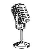 Retro monochrome music microphone concept in vintage style isolated vector illustration