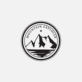 Retro and vintage logo design inspiration of mountains explorer, can used badge,sign, hipster, line art