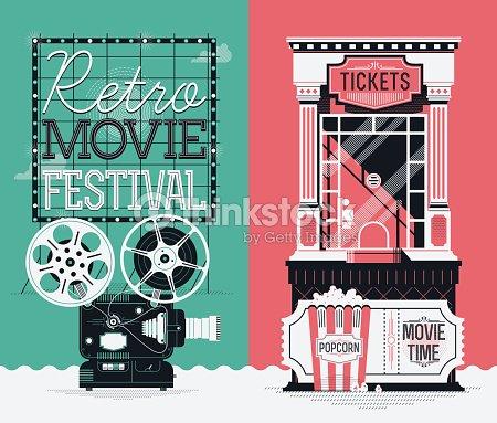 Retro Movie Festival Poster Template Vector Art