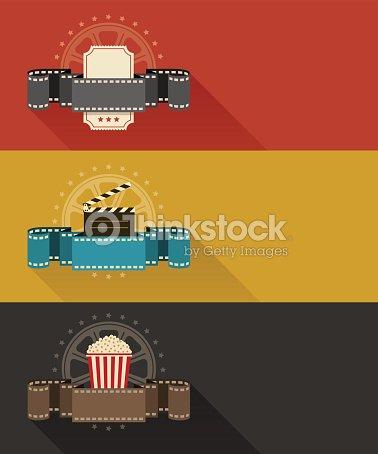 Retro Movie Theater Posters Flat Design Vector Art