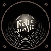 Vector banner with black acoustic speaker and calligraphic inscription Retro music
