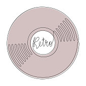 Vinyl LP record in one line art drawing style. Retro music party design. Vector illustration
