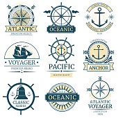 Retro nautical vector labels, badges, logos and emblems. Vintage marine label with ocean ship, illustration of retro label design