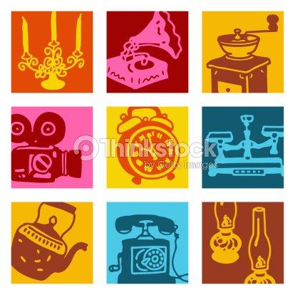 objets ensemble r tro pop art clipart vectoriel thinkstock. Black Bedroom Furniture Sets. Home Design Ideas
