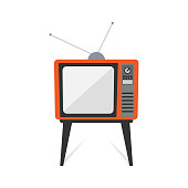 Retro old vintage television flat design isolated on white background.