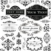 Collection of Victorian style frames, scrolls and typography ornaments.