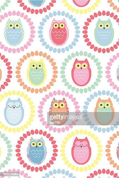 Retro Owl Repeat Pattern