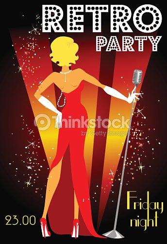 retro party invitation design with sample text vector art thinkstock