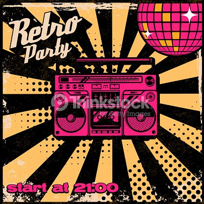 retro party poster template with boombox on grunge background