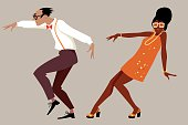 Couple dressed in 1960 fashion dancing a novelty dance, EPS 8 vector illustration, no transparencies