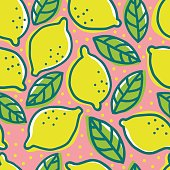 Vector vintage seamless pattern with lemons and leafs. Retro pattern with lemons.