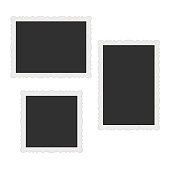 Collection of vector blank photo frames with shadow effects isolated on white background. Photorealistic style. Old, Vintage frame collection. Set different sizes of photos for your picture.