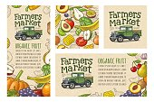 Vertical, horizontal poster and seamless pattern fruits with retro pickup truck and handwriting lettering Farmers market. Vintage color engraving illustration on craft paper texture for poster, label