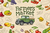 Horizontal poster with retro pickup truck and handwriting lettering Farmers market. Vintage color engraving illustration on craft paper texture with fruit and vegetable.