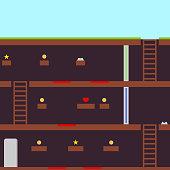Retro platformer video games, passing game levels. Flat design, vector illustration, vector.