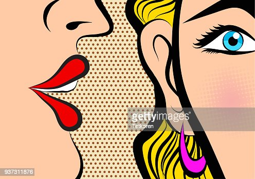 Retro Pop Art style Comic Style Book panel gossip girl whispering in ear secrets with pink cheek : stock vector
