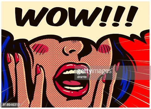 Retro pop art surprised and excited comic book woman with speech bubble saying wow vector illustration : stock vector