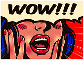 Vintage pop art style excited and surprised comic girl with open mouth and speech bubble saying wow vector illustration