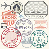 Retro postage USA airport stamps set New York state theme, vector illustration